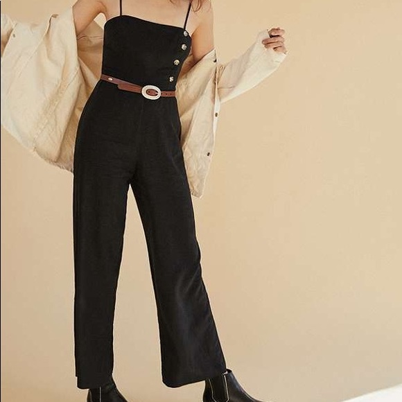 0393191dec66 UO Black Straight-Neck Linen Button-Down Jumpsuit